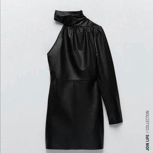 ZARA ASYMMETRIC 🌸LEATHER🌸 DRESS 🌺NEW🌺